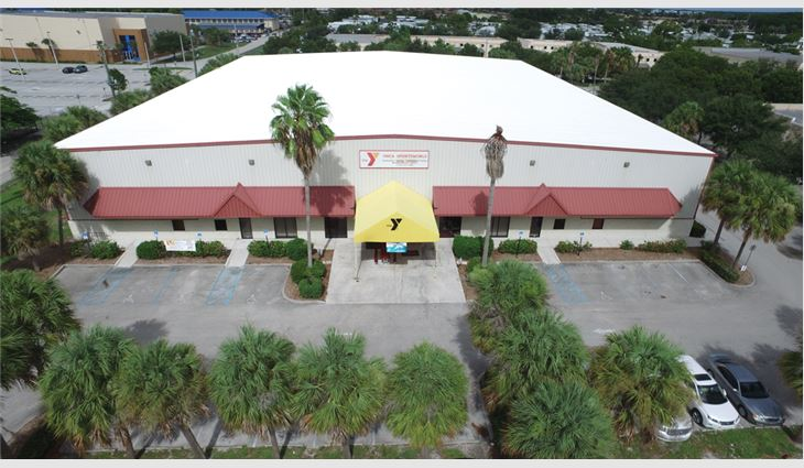 An aerial view of the SportsWorld facility's new roof system.