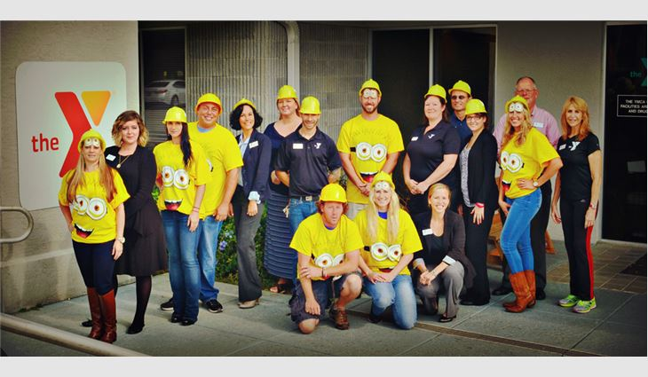 The Venture Construction Group of Florida crew dressed up as Minion characters to surprise the Teddy Bear Academy preschoolers.