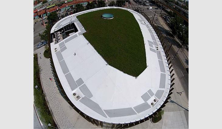 An aerial view of the library's completed roof systems.