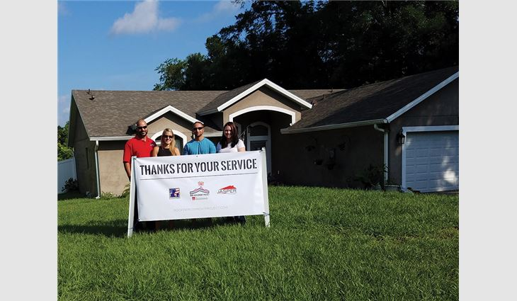 Jasper Contractors Inc., Atlanta, provided a new roof system for 16-year Army veteran Sgt. Paul Singrossi and his wife, Collette, a police officer, through Toledo, Ohio-based Owens Corning's Roof Deployment Project.