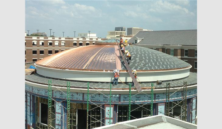 The dome's copper panels were fabricated on-site.