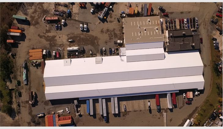 Aerial view of the new roof system