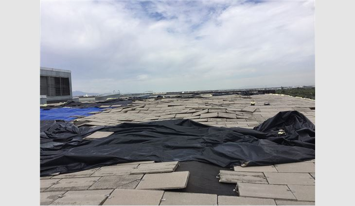 A microburst lifted the EPDM membrane and pavers, resulting in significant damage.
