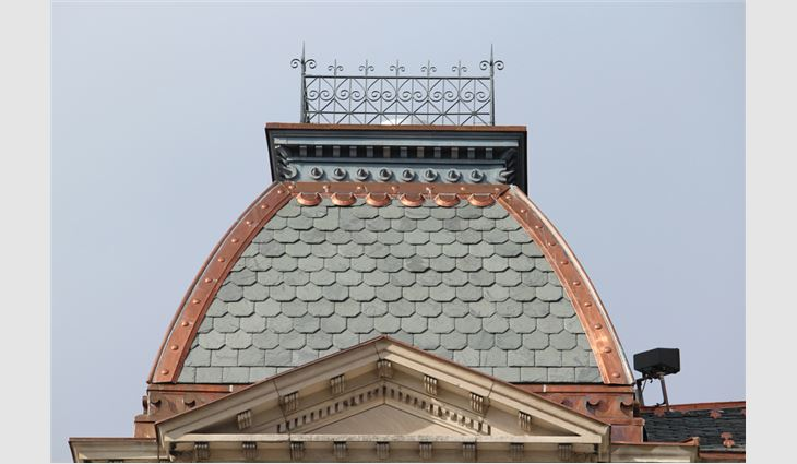Harrison County Courthouse's new slate roof system