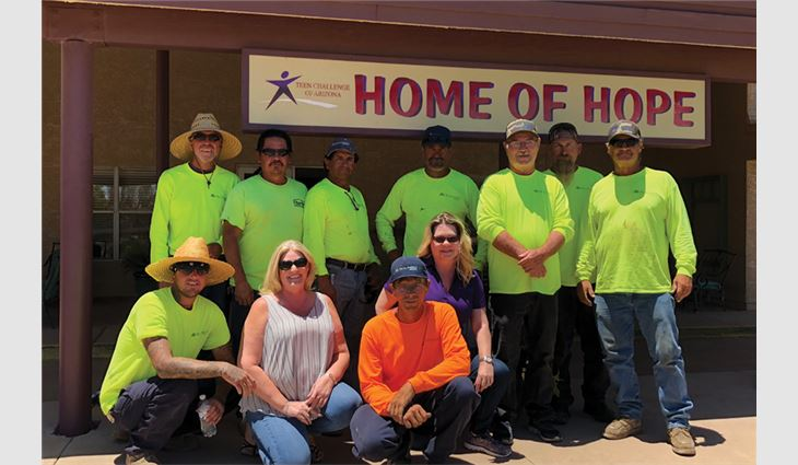 The Tecta America Arizona LLC, Phoenix, team volunteered their skills and time to repair Home of Hope's 30,000-square-foot roof system.