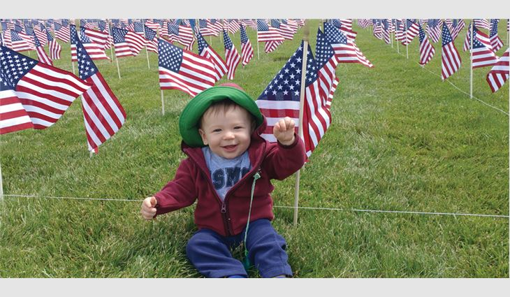 Tri-County Roofing & Sheet Metal Inc., Westminster, Md., supported a  Veteran Flag Memorial Event that included 9,000 flags.