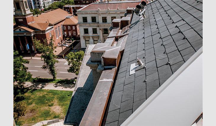 Buckingham® Slate tiles were installed above building entrances.