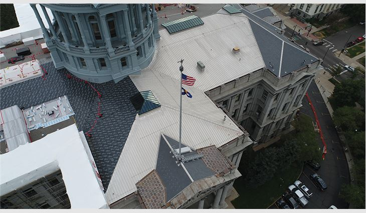 Aerial views of the roof systems under construction.