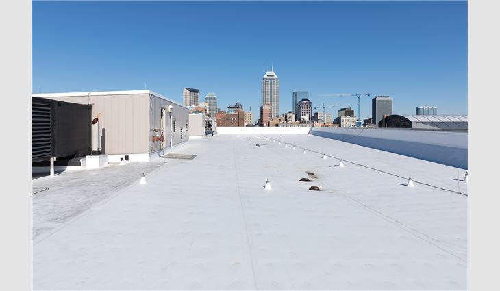 A newly completed roof system