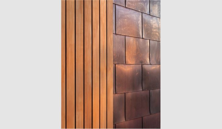 Western Red Cedar and copper were chosen for the materials' ability to blend with the landscape over time.