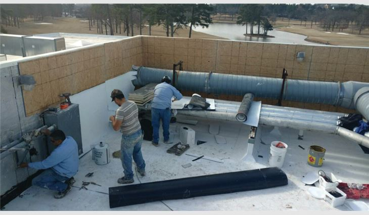 The roof system under construction