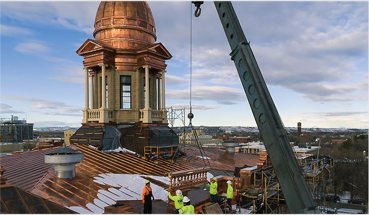 More than 1,800 42-foot-long copper panels were fabricated by Renaissance Roofing craftsmen.
