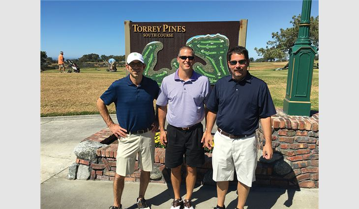 Sabino (right) golfing with NRCA Directors Scott Kawulok (left), vice president of B & M Roofing of Colorado Inc., Frederick, and Chad Collins, owner and president of Bone Dry Roofing Co., Bogart, Ga.