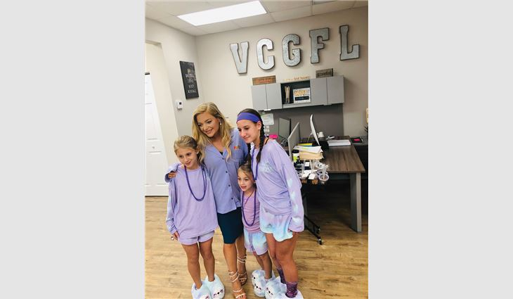 During Domestic Violence Awareness month in October, Venture Construction Group of Florida employees held a Purple Pajama Party fundraising event.