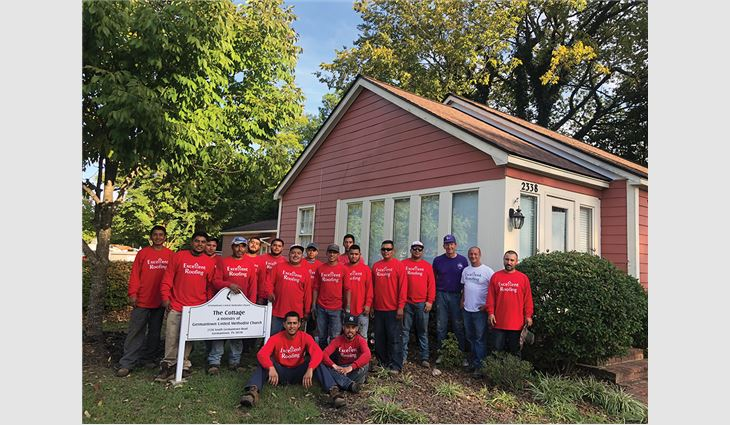 The Excellent Roofing crew stepped up to provide a new roof system for The Cottage, a homeless shelter.