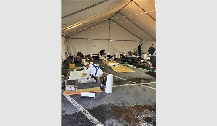 More than 30 asphalt shingle and thermoplastic roof system installer candidates completed NRCA ProCertification hands-on performance exams during the IRE.