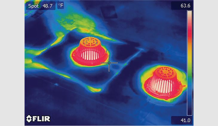 Infrared testing was performed to diagnose persistent leaks in a new roof system to differentiate between latent moisture and new damage.