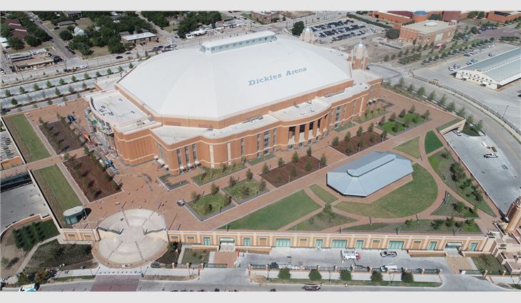 Aerial view of the new arena's PVC membrane roof system.