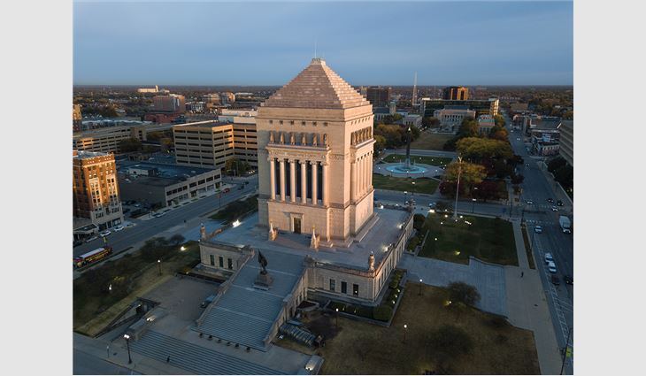 A ziggurat is a pyramidal structure built in successive stages with outside staircases and a shrine at the top. The ziggurat roof on the 210-foot-tall Indiana War Memorial has 16 steps.