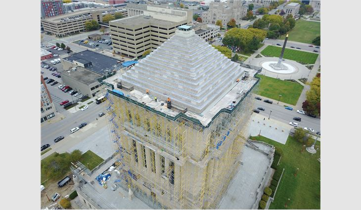 An aerial view of the Indiana War Memorial's newly completed ziggurat roof system. The roof systems under construction.