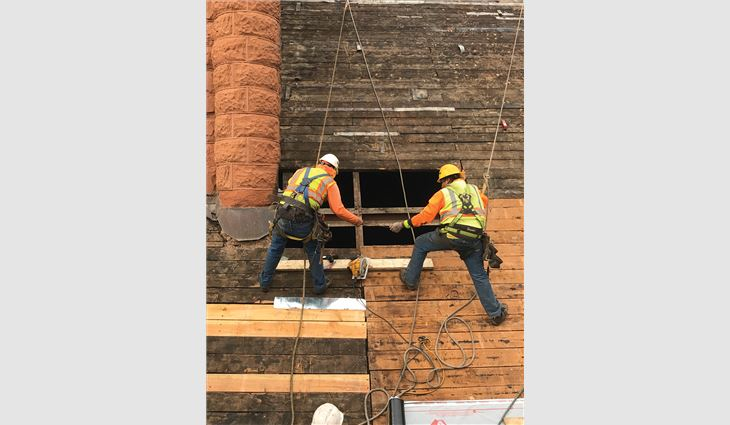 Crew members replaced more than 7,500 linear feet of customized sheathing.