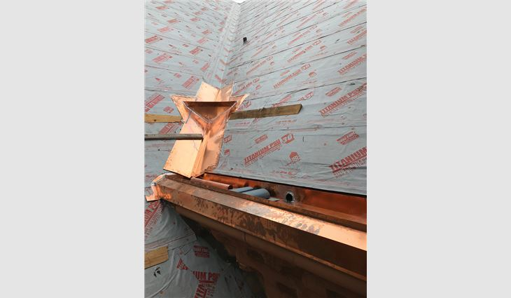 Craftsmen created more than 700 linear feet of copper valleys, 1,900 linear feet of copper flashings and 1,500 linear feet of custom copper gutters.