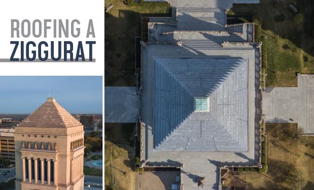 Roofing a ziggurat  - Renaissance Roofing restores an Indiana war memorial